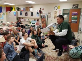 Tim reads to my Sophomores